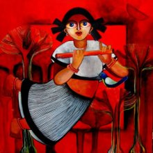 Figurative Acrylic Art Painting title 'BRINDA' by artist Sharmi Dey
