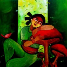 Figurative Acrylic Art Painting title 'YOCHANA' by artist Sharmi Dey