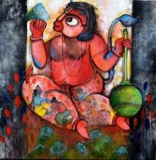 Figurative Acrylic Art Painting title Pavanputra by artist Sharmi Dey