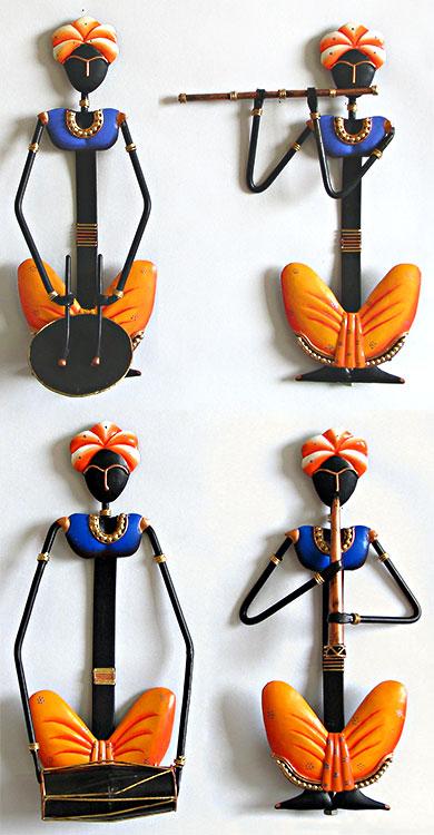 Rajasthani Lady Musician Set Figurative On Wrought Iron