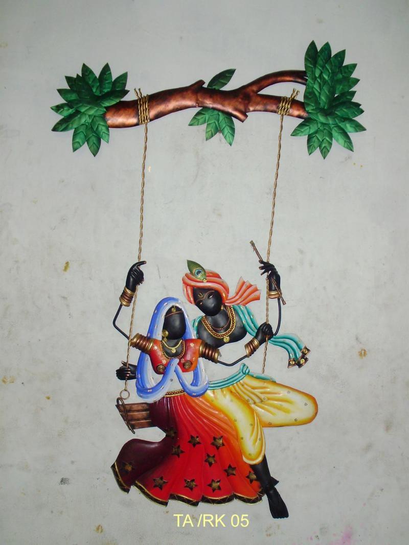Krishna Radha Jhoola 3 Religious On Wrought Iron Handicraft