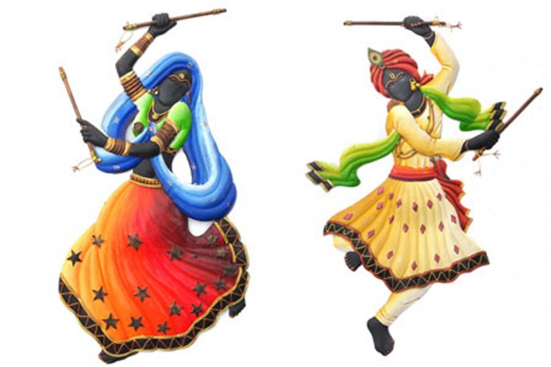 Dandiya Dancing Couple Figurative On Wrought Iron Handicraft