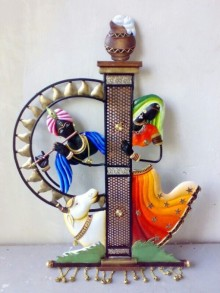 Radha Krishna And Cow Pillar | Craft by artist Handicrafts | Wrought Iron