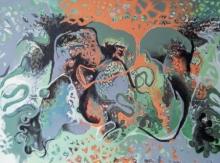 contemporary Mixed-media Art Painting title Gathered Repression by artist Rasana Bhardwaj