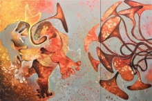 contemporary Acrylic Art Painting title No Horn Ok Please by artist Rasana Bhardwaj