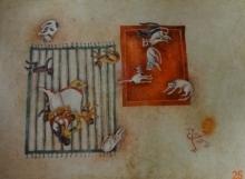 Figurative Watercolor Art Painting title 'Sasthi' by artist Arpita Basu