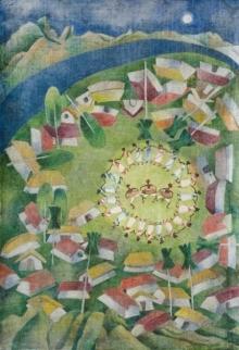 Arpita Basu | Watercolor Painting title Tribal Life on Paper | Artist Arpita Basu Gallery | ArtZolo.com