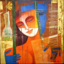 Figurative Acrylic Art Painting title 'Nautanki Series 3' by artist Chaitali Mukherjee