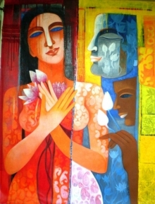 Figurative Acrylic Art Painting title Nautanki Series 8 by artist Chaitali Mukherjee