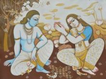 Figurative Acrylic Art Painting title Couple by artist Manisha Srivastava