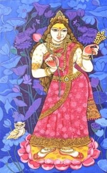 Religious Acrylic Art Painting title 'Goddess Lakshmi' by artist Manisha Srivastava