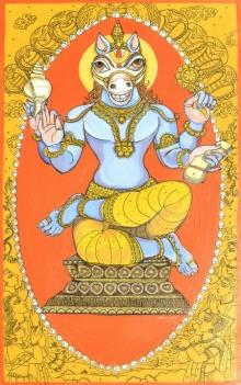 Religious Acrylic-pen Art Painting title 'Kalki Avatar From Dashavtaar Series 10' by artist Manisha Srivastava