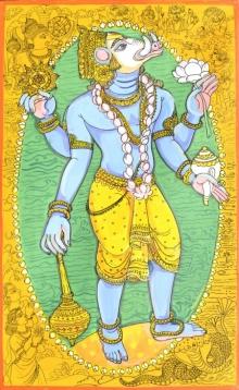 Religious Acrylic-pen Art Painting title 'Krishna Avatar From Dashavtaar Series 3' by artist Manisha Srivastava