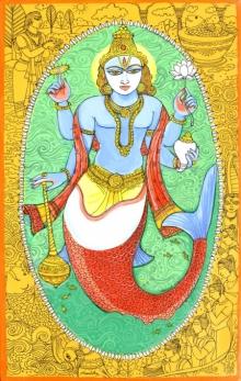 Religious Acrylic-pen Art Painting title 'Matasya Avatar From Dashavtaar Series 1' by artist Manisha Srivastava