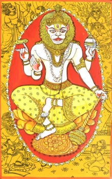 Religious Acrylic-pen Art Painting title 'Narsimha Avatar From Dashavtaar Series 4' by artist Manisha Srivastava