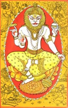 Religious Acrylic-pen Art Painting title 'Narsimha Avatar From Dashavtaar Series 4' by artist Manisha Srivastava