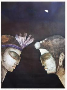 Figurative Oil Art Painting title You And Me I by artist Manoj Muneshwar