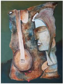 Figurative Oil Art Painting title 'Play Veena' by artist Manoj Muneshwar