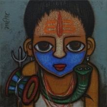 Religious Acrylic Art Painting title Bahurupiya 2 by artist Hitendra Singh Bhati