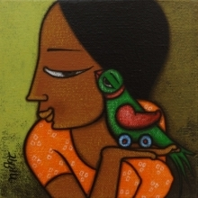 Figurative Acrylic Art Painting title Girl With A Bird 3 by artist Hitendra Singh Bhati