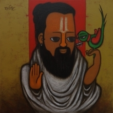 Religious Acrylic Art Painting title Predictor 2 by artist Hitendra Singh Bhati