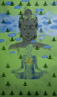 Religious Acrylic Art Painting title 'Buddha' by artist Ns Art