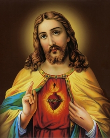 Ns Art | Acrylic Painting title Sacred Heart Jesus Christ 10 on Canvas | Artist Ns Art Gallery | ArtZolo.com