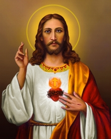 Ns Art | Acrylic Painting title Sacred Heart Jesus Christ 5 on Canvas | Artist Ns Art Gallery | ArtZolo.com