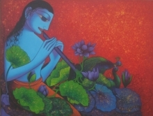 art, painting, acrylic, canvas, religious, krishna