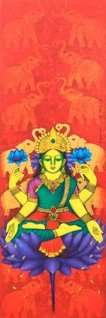 Religious Acrylic Art Painting title 'Laxmi 2' by artist Prakash Deshmukh