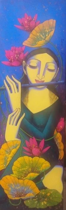 Prakash Deshmukh | Acrylic Painting title Nayika on Canvas | Artist Prakash Deshmukh Gallery | ArtZolo.com