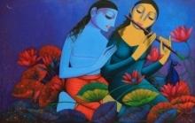 Prakash Deshmukh Paintings | Acrylic Painting - Radha Krishna 2 by artist Prakash Deshmukh | ArtZolo.com