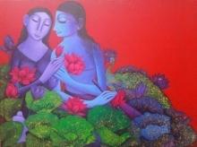 art, painting, acrylic, canvas, religious, radha krishna