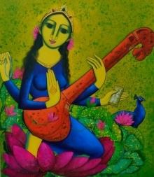 Prakash Deshmukh | Acrylic Painting title Saraswati on Canvas | Artist Prakash Deshmukh Gallery | ArtZolo.com