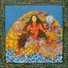 contemporary Mixed-media Art Painting title 'The Golden Womb' by artist Seema Kohli