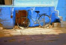Ramesh Jhawar | Watercolor Painting title Blue Bicycle on Paper | Artist Ramesh Jhawar Gallery | ArtZolo.com