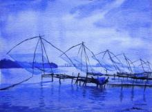 Ramesh Jhawar | Watercolor Painting title Chinese Fishing Nets Kochi on Paper | Artist Ramesh Jhawar Gallery | ArtZolo.com