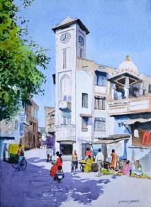 Ramesh Jhawar | Watercolor Painting title Clock Tower on Paper | Artist Ramesh Jhawar Gallery | ArtZolo.com