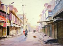 Ramesh Jhawar | Watercolor Painting title Early Morning on Paper | Artist Ramesh Jhawar Gallery | ArtZolo.com
