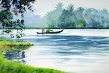 Ramesh Jhawar | Watercolor Painting title Floating Along The Backwaters on Paper | Artist Ramesh Jhawar Gallery | ArtZolo.com