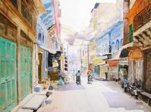 Ramesh Jhawar | Watercolor Painting title Jodhpur Street on Paper | Artist Ramesh Jhawar Gallery | ArtZolo.com