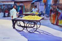 Ramesh Jhawar | Watercolor Painting title Lemon Seller on Paper | Artist Ramesh Jhawar Gallery | ArtZolo.com
