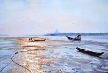 Ramesh Jhawar | Watercolor Painting title Low Tide Gorai Creek on Paper | Artist Ramesh Jhawar Gallery | ArtZolo.com