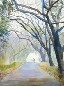 Ramesh Jhawar | Watercolor Painting title Morning Mist on Paper | Artist Ramesh Jhawar Gallery | ArtZolo.com