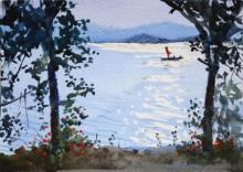 Ramesh Jhawar | Watercolor Painting title Sparkling Waters on Paper | Artist Ramesh Jhawar Gallery | ArtZolo.com