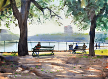Cityscape Watercolor Art Painting title A Bright Morning by artist Ramesh Jhawar
