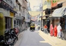Ramesh Jhawar | Watercolor Painting title Jodhpur Street 4 on Paper | Artist Ramesh Jhawar Gallery | ArtZolo.com
