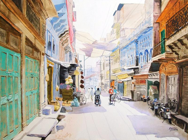 Jodhpur Street By Artist Ramesh Jhawar Cityscape Art