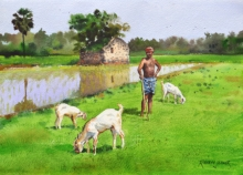 Figurative Watercolor Art Painting title 'Minding His Herd 4' by artist Ramesh Jhawar