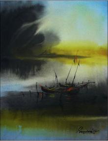 Seascape Acrylic Art Painting title Untitled by artist Soumen Saha